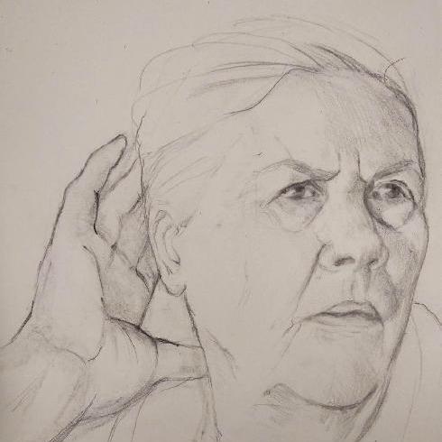 Portret schets moeder door meg mercx